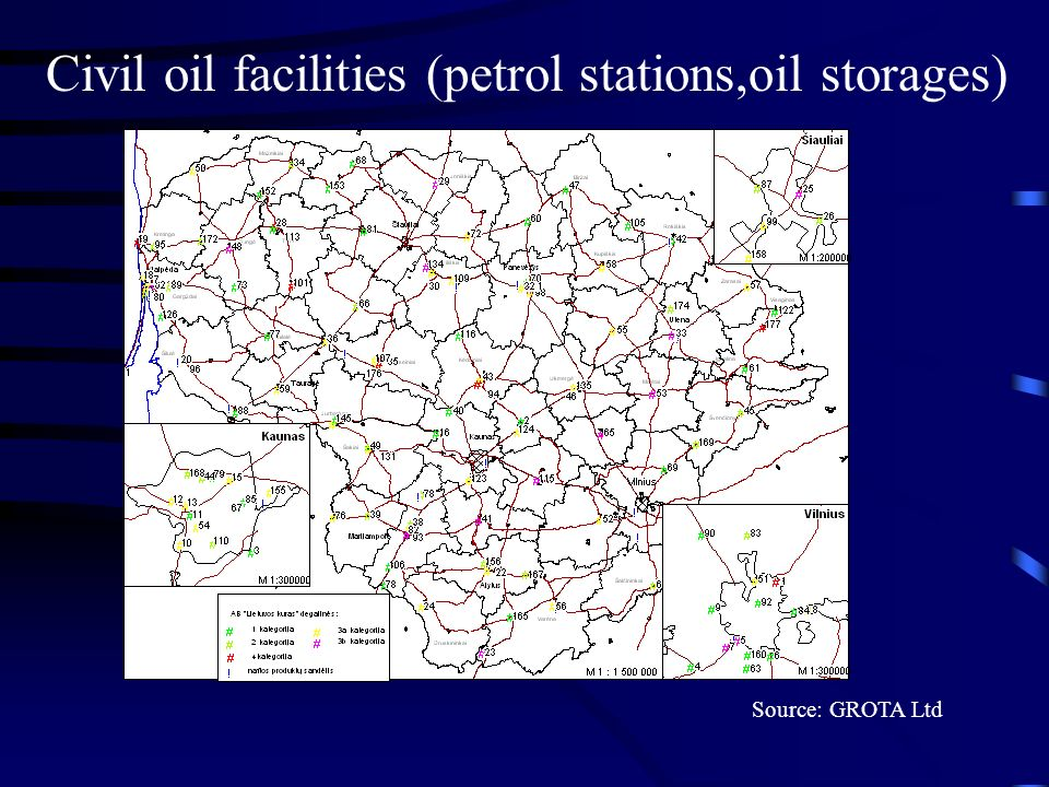 Civil oil facilities (petrol stations,oil storages) Source: GROTA Ltd
