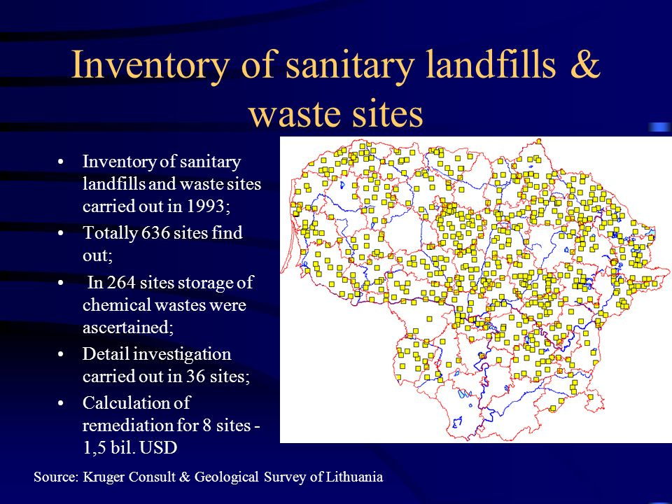 Inventory of sanitary landfills & waste sites Inventory of sanitary landfills and waste sites carried out in 1993; Totally 636 sites find out; In 264 sites storage of chemical wastes were ascertained; Detail investigation carried out in 36 sites; Calculation of remediation for 8 sites - 1,5 bil.