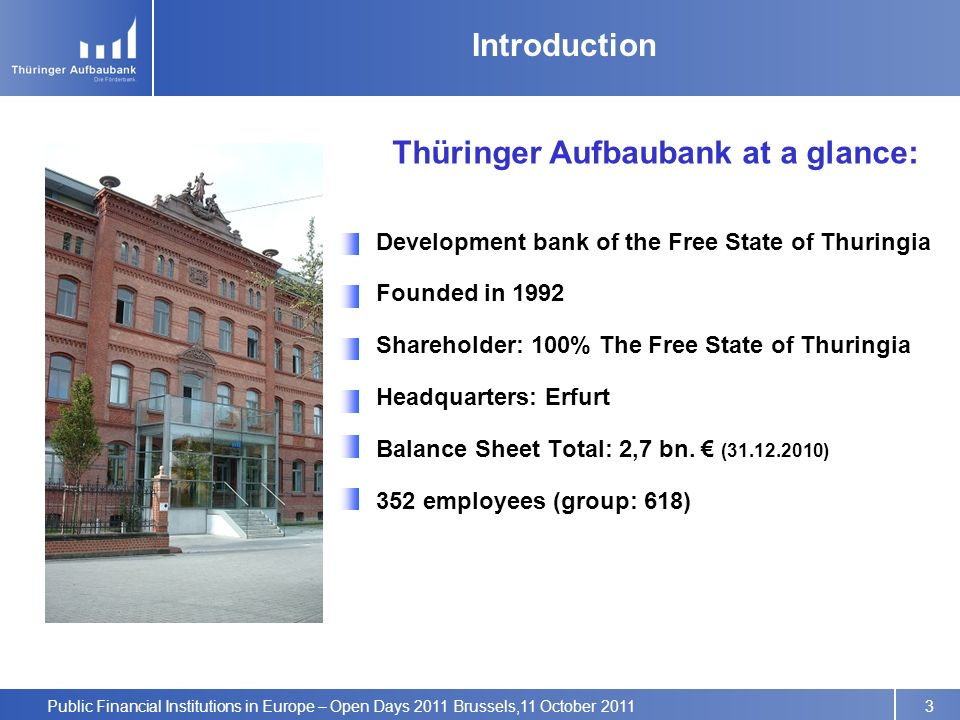 Public Financial Institutions in Europe – Open Days 2011 Brussels,11 October 2011 Development bank of the Free State of Thuringia Founded in 1992 Shareholder: 100% The Free State of Thuringia Headquarters: Erfurt Balance Sheet Total: 2,7 bn.