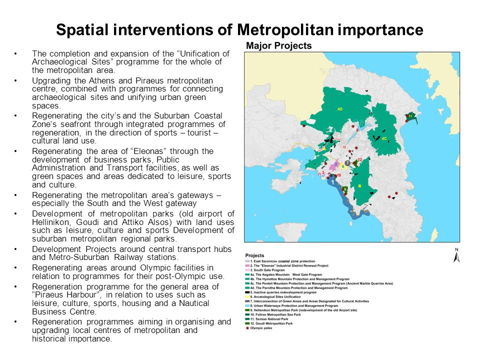 Spatial interventions of Metropolitan importance The completion and expansion of the Unification of Archaeological Sites programme for the whole of the metropolitan area.