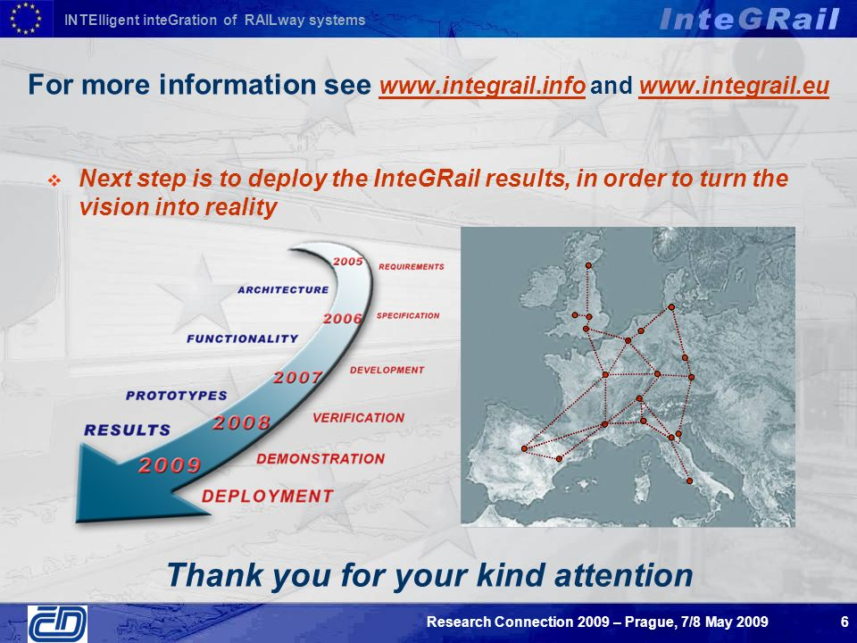 INTElligent inteGration of RAILway systems Research Connection 2009 – Prague, 7/8 May For more information see   and   Next step is to deploy the InteGRail results, in order to turn the vision into reality Thank you for your kind attention