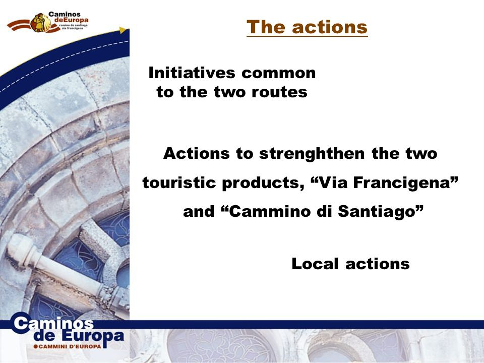 The actions Initiatives common to the two routes Actions to strenghthen the two touristic products, Via Francigena and Cammino di Santiago Local actions