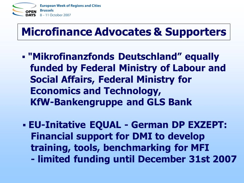 Microfinance Advocates & Supporters