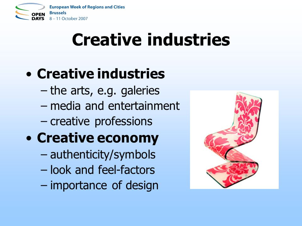 Creative regions Creativity in place –global-local paradox –regional authenticity Creative regions –Floridas three Ts –diversity and instability –strong image building –regional leadership