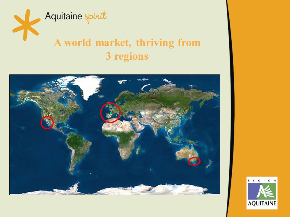 A world market, thriving from 3 regions