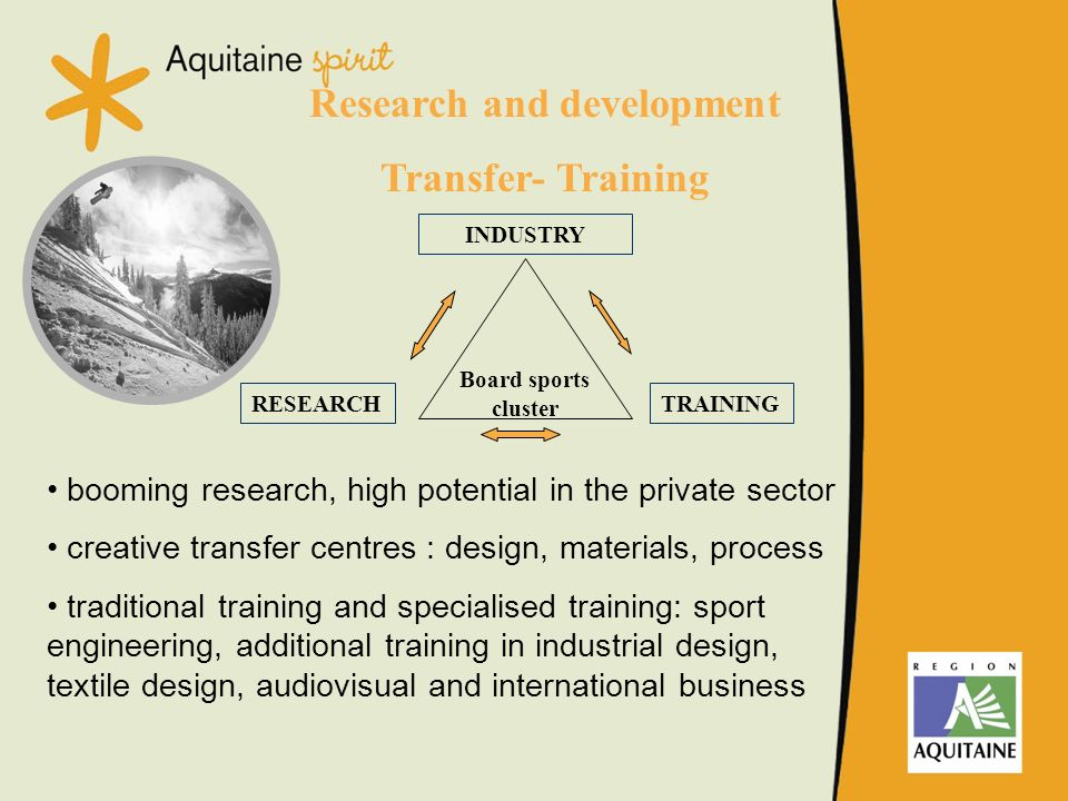 Research and development Transfer- Training INDUSTRY RESEARCHTRAINING Board sports cluster booming research, high potential in the private sector crea