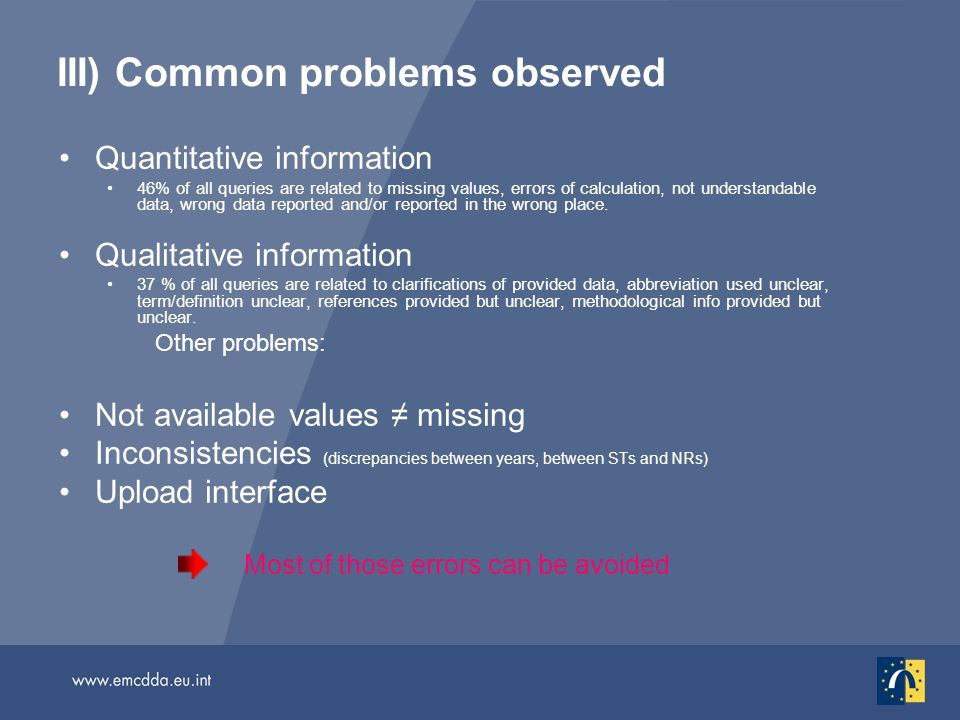 III) Common problems observed Quantitative information 46% of all queries are related to missing values, errors of calculation, not understandable data, wrong data reported and/or reported in the wrong place.