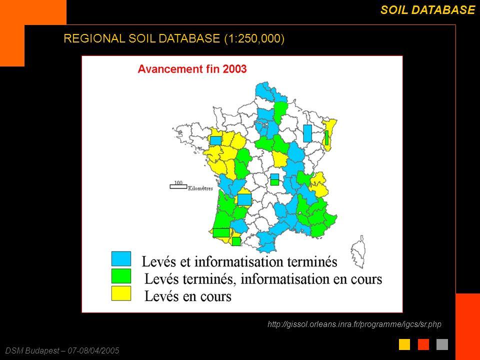 F. Carré – 25/11/2003 DSM Budapest – 07-08/04/2005 SOIL DATABASE REGIONAL SOIL DATABASE (1:250,000) http://gissol.orleans.inra.fr/programme/igcs/sr.ph
