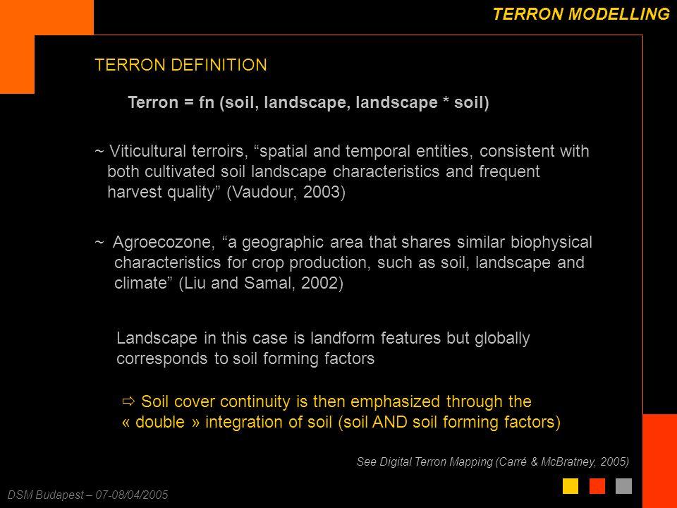 F. Carré – 25/11/2003 DSM Budapest – 07-08/04/2005 TERRON MODELLING Terron = fn (soil, landscape, landscape * soil) TERRON DEFINITION See Digital Terr