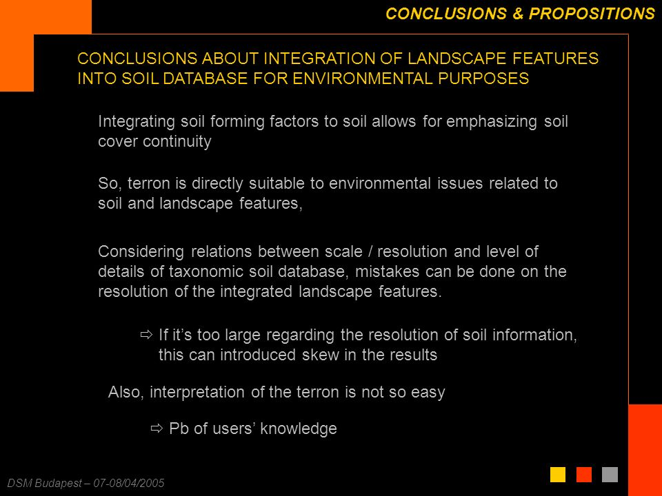 F. Carré – 25/11/2003 DSM Budapest – 07-08/04/2005 CONCLUSIONS & PROPOSITIONS So, terron is directly suitable to environmental issues related to soil