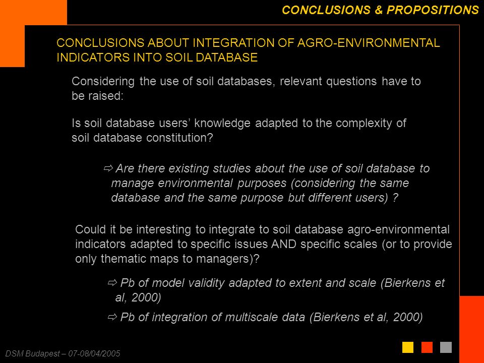 F. Carré – 25/11/2003 DSM Budapest – 07-08/04/2005 CONCLUSIONS & PROPOSITIONS Is soil database users knowledge adapted to the complexity of soil datab