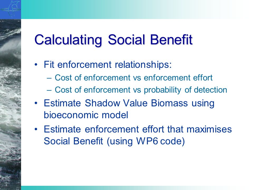Calculating Social Benefit Fit enforcement relationships: –Cost of enforcement vs enforcement effort –Cost of enforcement vs probability of detection Estimate Shadow Value Biomass using bioeconomic model Estimate enforcement effort that maximises Social Benefit (using WP6 code)