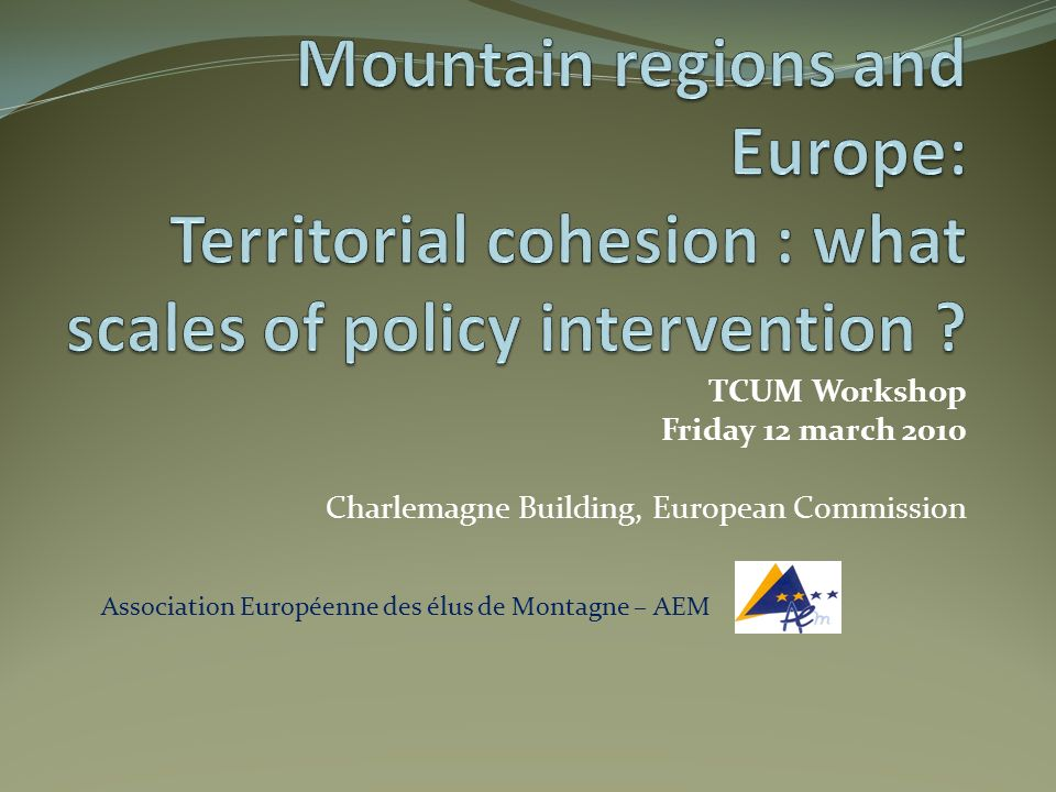 TCUM Workshop Friday 12 march 2010 Charlemagne Building, European Commission Association Européenne des élus de Montagne – AEM
