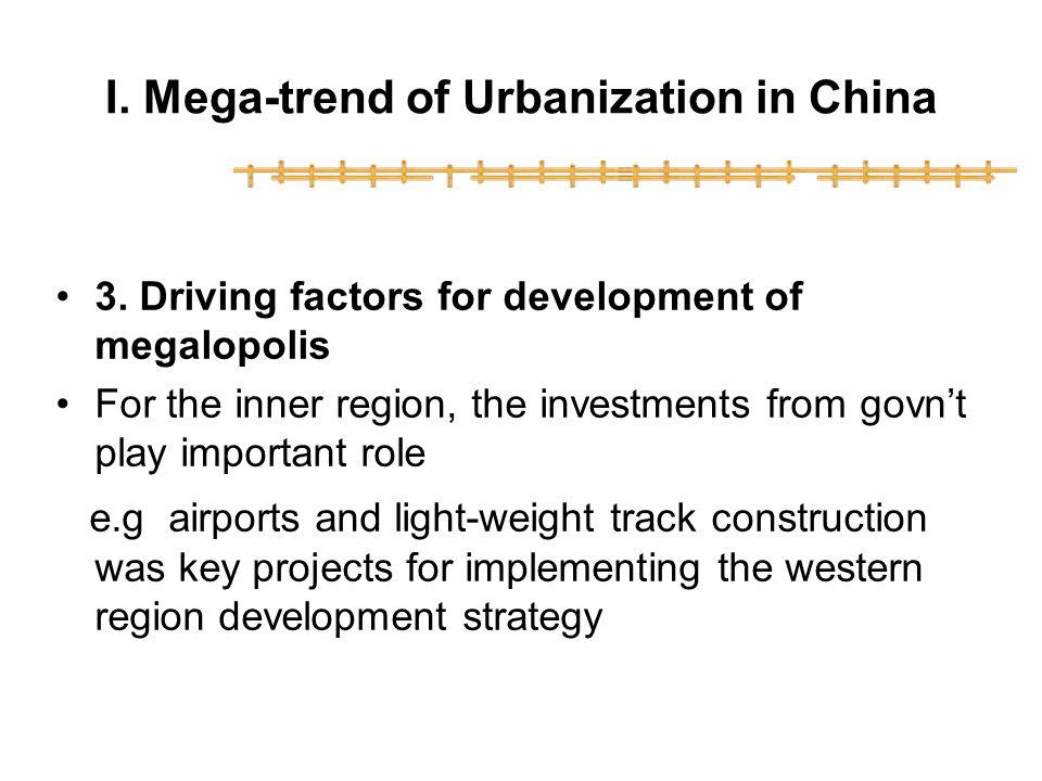 I.Mega-trend of Urbanization in China 3.