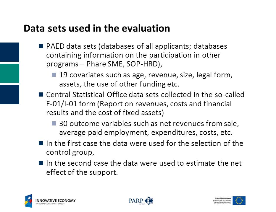 Data sets used in the evaluation PAED data sets (databases of all applicants; databases containing information on the participation in other programs