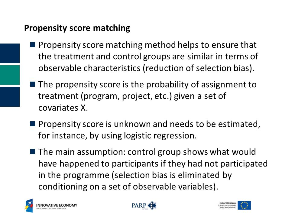 Propensity score matching Propensity score matching method helps to ensure that the treatment and control groups are similar in terms of observable ch