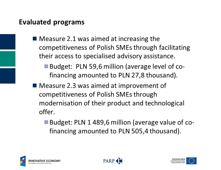 Evaluated programs Measure 2.1 was aimed at increasing the competitiveness of Polish SMEs through facilitating their access to specialised advisory assistance.