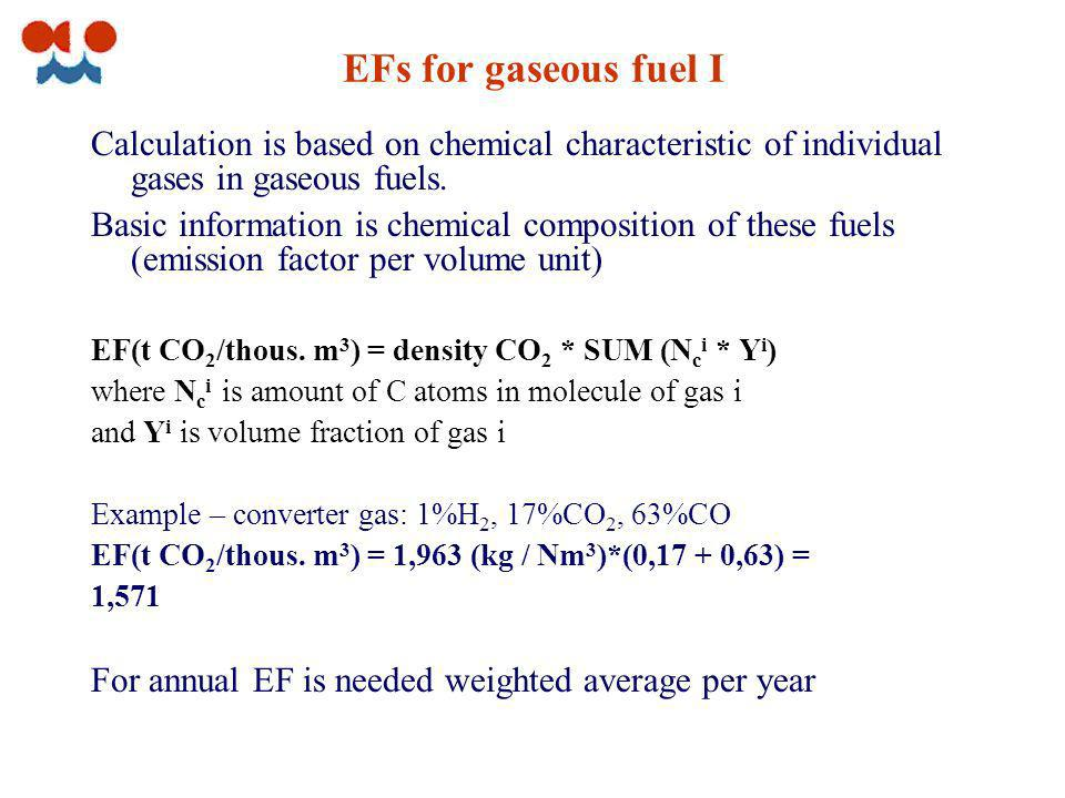 EFs for gaseous fuel I Calculation is based on chemical characteristic of individual gases in gaseous fuels.