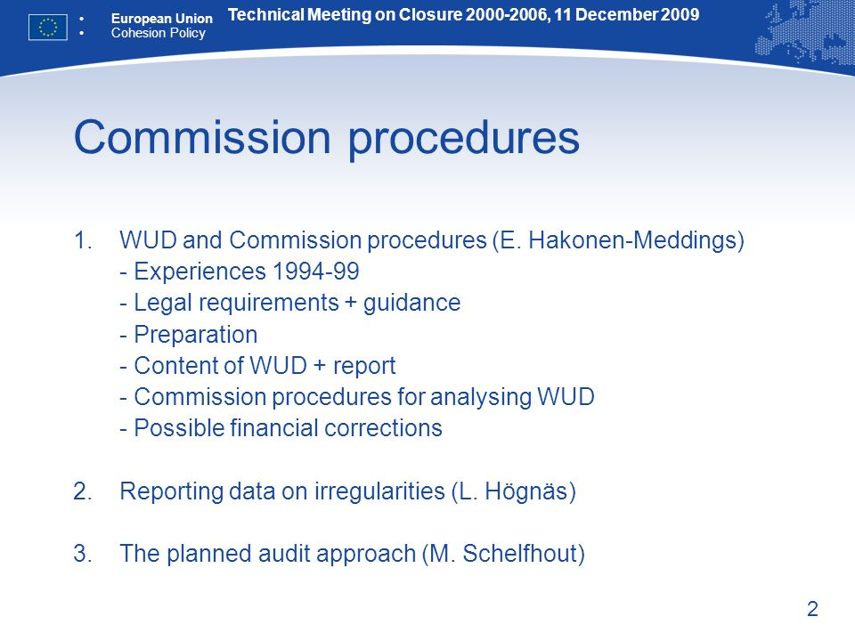 2 Commission procedures 1.WUD and Commission procedures (E.