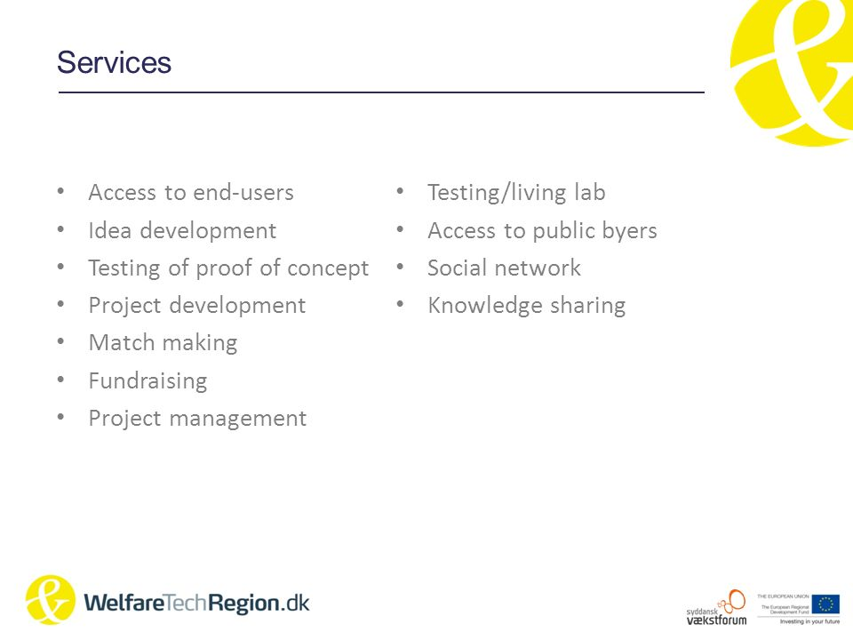 Services Access to end-users Idea development Testing of proof of concept Project development Match making Fundraising Project management Testing/livi