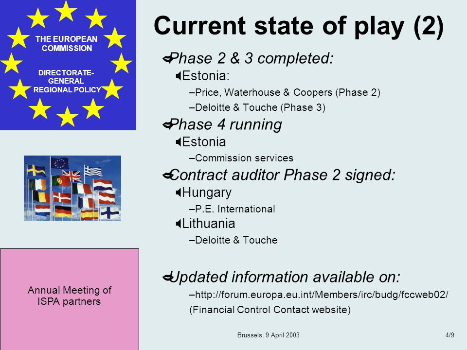 Annual Meeting of ISPA partners THE EUROPEAN COMMISSION DIRECTORATE- GENERAL REGIONAL POLICY Brussels, 9 April 20034/9 Current state of play (2) Phase
