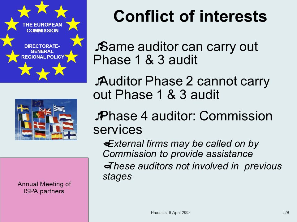 Annual Meeting of ISPA partners THE EUROPEAN COMMISSION DIRECTORATE- GENERAL REGIONAL POLICY Brussels, 9 April 20036/9 Scope Phase 4 audit Assessment of: national and sectoral project management capacity financial control procedures structures regarding public finance Target bodies: NIC NAO and National Fund SAO and supporting staff implementing agencies internal audit bodies bodies responsible for the ex-ante control on tendering and contracting