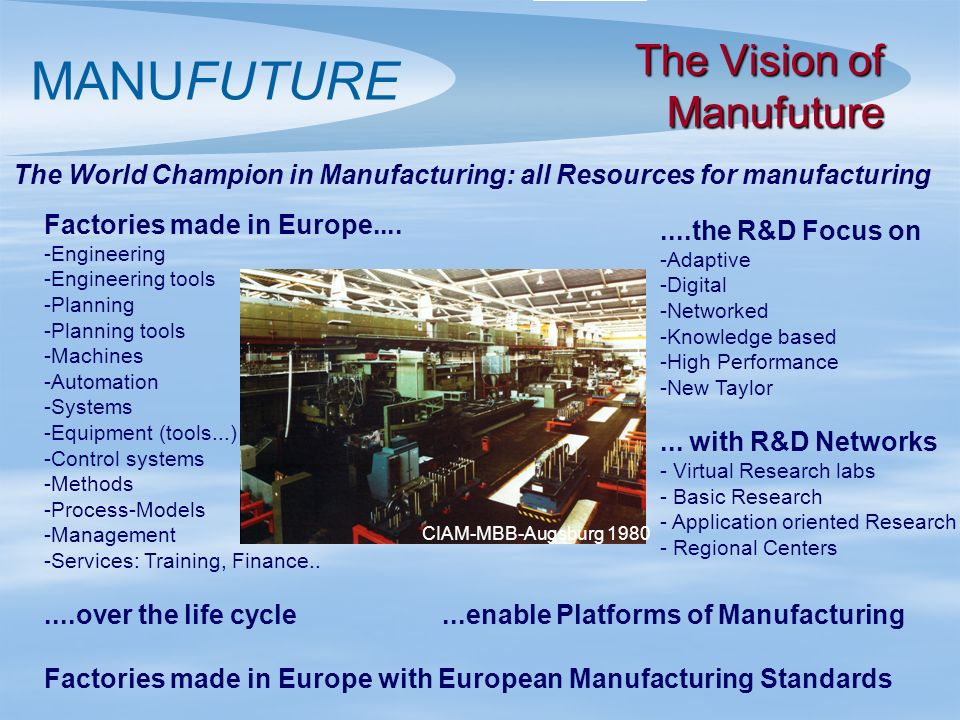 MANUFUTURE Factories made in Europe.... - -Engineering - -Engineering tools - -Planning - -Planning tools - -Machines - -Automation - -Systems - -Equi
