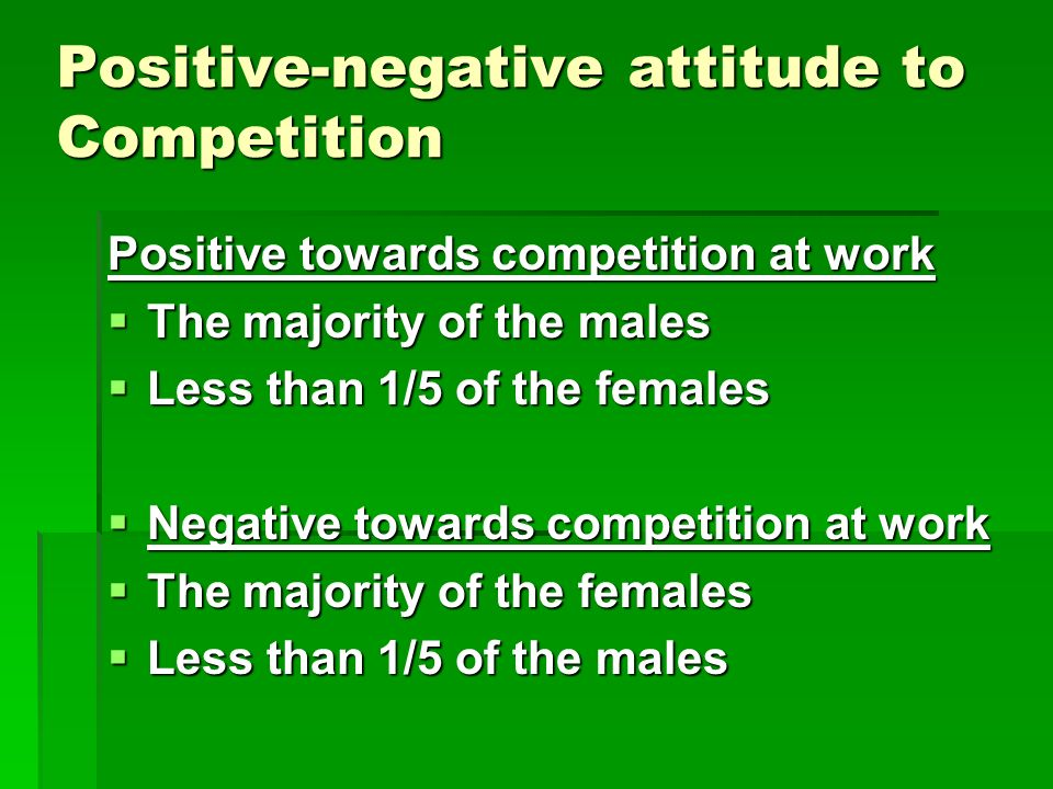 Positive-negative attitude to Competition Positive towards competition at work The majority of the males The majority of the males Less than 1/5 of the females Less than 1/5 of the females Negative towards competition at work Negative towards competition at work The majority of the females The majority of the females Less than 1/5 of the males Less than 1/5 of the males