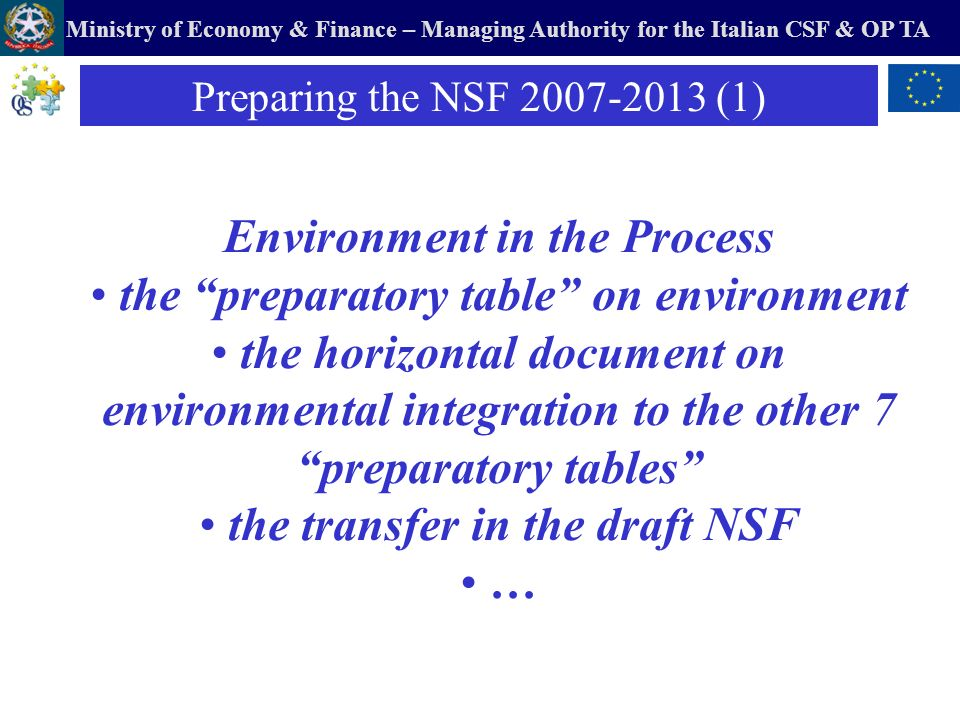Ministry of Economy & Finance – Managing Authority for the Italian CSF & OP TA Environment in the Process the preparatory table on environment the hor