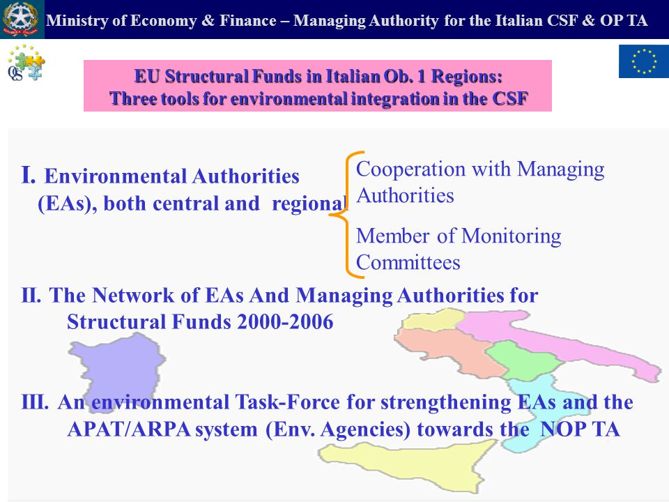 Ministry of Economy & Finance – Managing Authority for the Italian CSF & OP TA b) The National Operational Programme (NOP) of Technical Assistance (TA) and the Environment A tool to improve capacity building