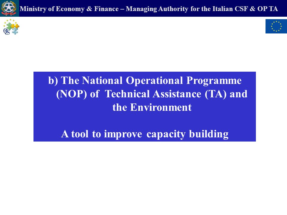 Ministry of Economy & Finance – Managing Authority for the Italian CSF & OP TA 1.Methodological and technical guidelines for Operational Plan of Systematic Cooperation between EAs and Managing Authorities (POCS) 2.Methodological and technical guidelines for the evaluation of Operational Programmes (NOPs & ROPs) 3.Methodological and technical guidelines for the environmental evaluation of Territorial Integrated Projects (PIT) 4.Update of the Ex ante Environmental Evaluation of CSF, NOPs, ROPs 5.Evaluation of the implementation of the PPP into the CSF (Polluter-Pays-Principle) 6.Evaluation of State aid schemes for enterprises for environmental aims (Raita) 7.Sectorial Reports on waste, water, monitoring,…..