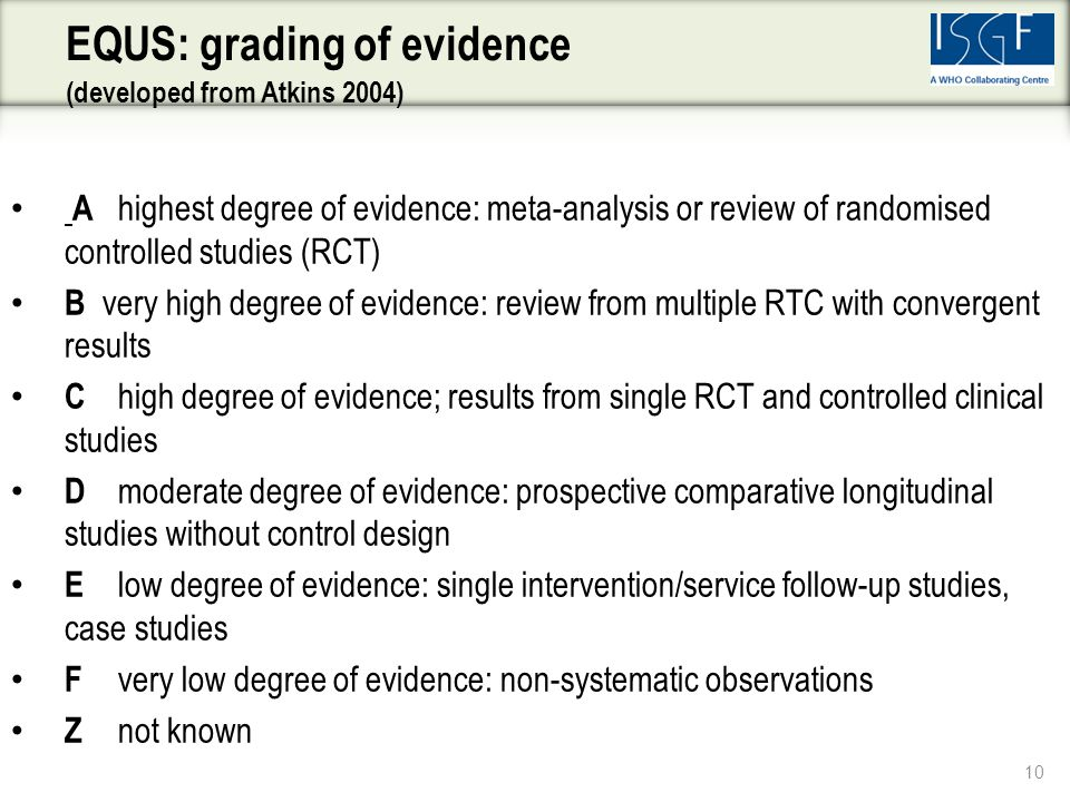 A highest degree of evidence: meta-analysis or review of randomised controlled studies (RCT) B very high degree of evidence: review from multiple RTC