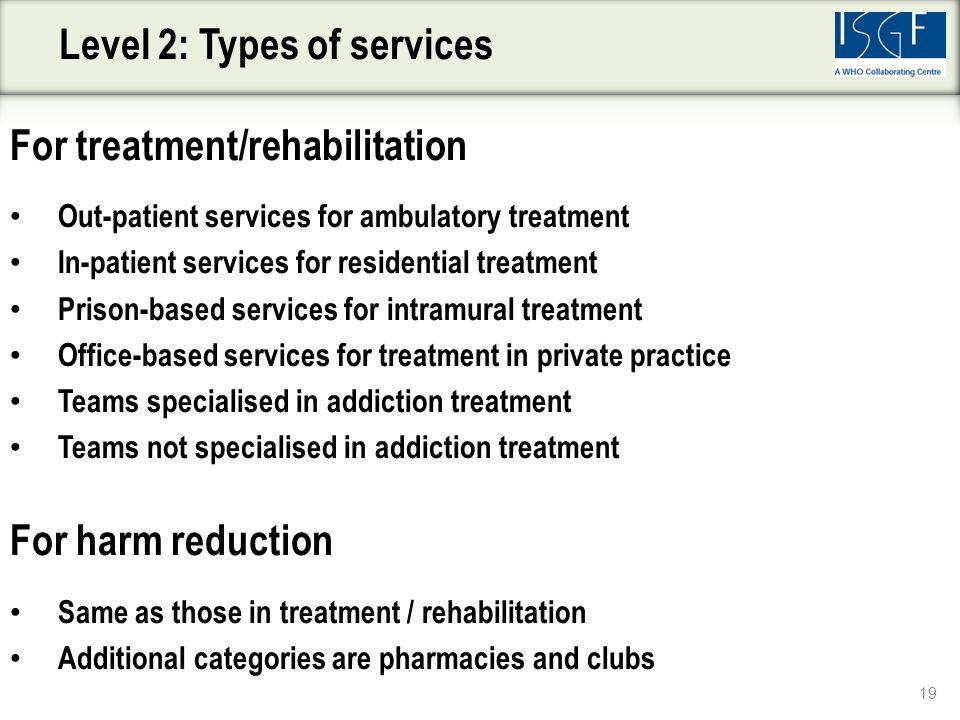 For treatment/rehabilitation Out-patient services for ambulatory treatment In-patient services for residential treatment Prison-based services for int