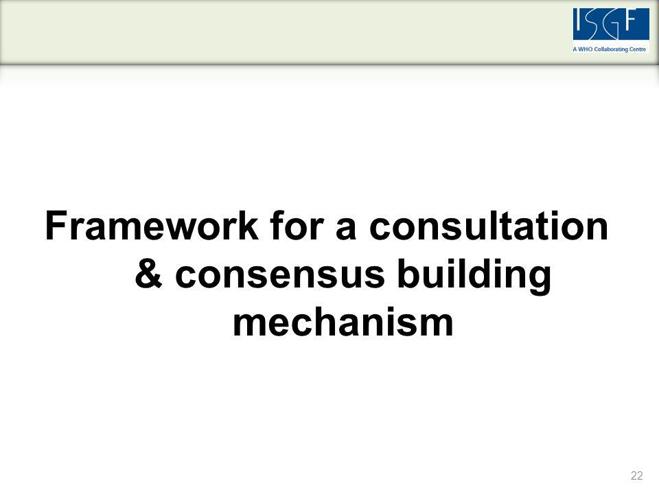 22 Framework for a consultation & consensus building mechanism
