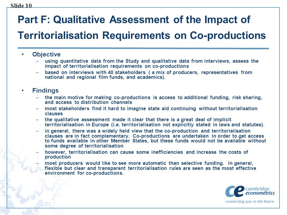 connecting you to the future Part F: Qualitative Assessment of the Impact of Territorialisation Requirements on Co-productions Objective –using quanti