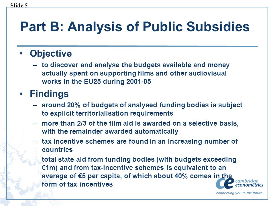 connecting you to the future Part B: Analysis of Public Subsidies Objective –to discover and analyse the budgets available and money actually spent on supporting films and other audiovisual works in the EU25 during Findings –around 20% of budgets of analysed funding bodies is subject to explicit territorialisation requirements –more than 2/3 of the film aid is awarded on a selective basis, with the remainder awarded automatically –tax incentive schemes are found in an increasing number of countries –total state aid from funding bodies (with budgets exceeding 1m) and from tax-incentive schemes is equivalent to an average of 5 per capita, of which about 40% comes in the form of tax incentives Slide 5