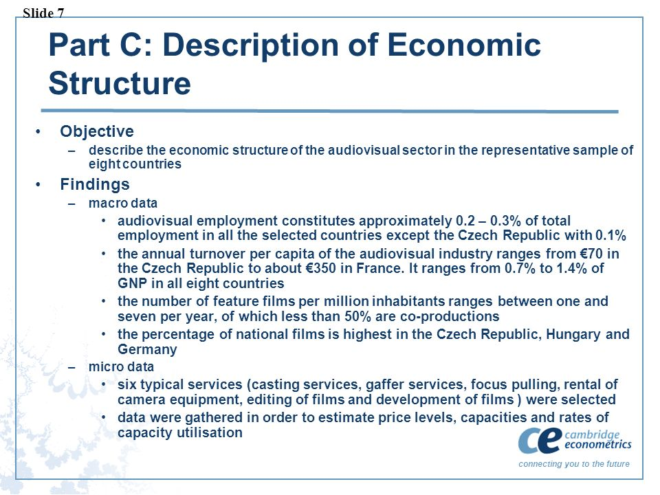 connecting you to the future Part C: Description of Economic Structure Objective –describe the economic structure of the audiovisual sector in the rep