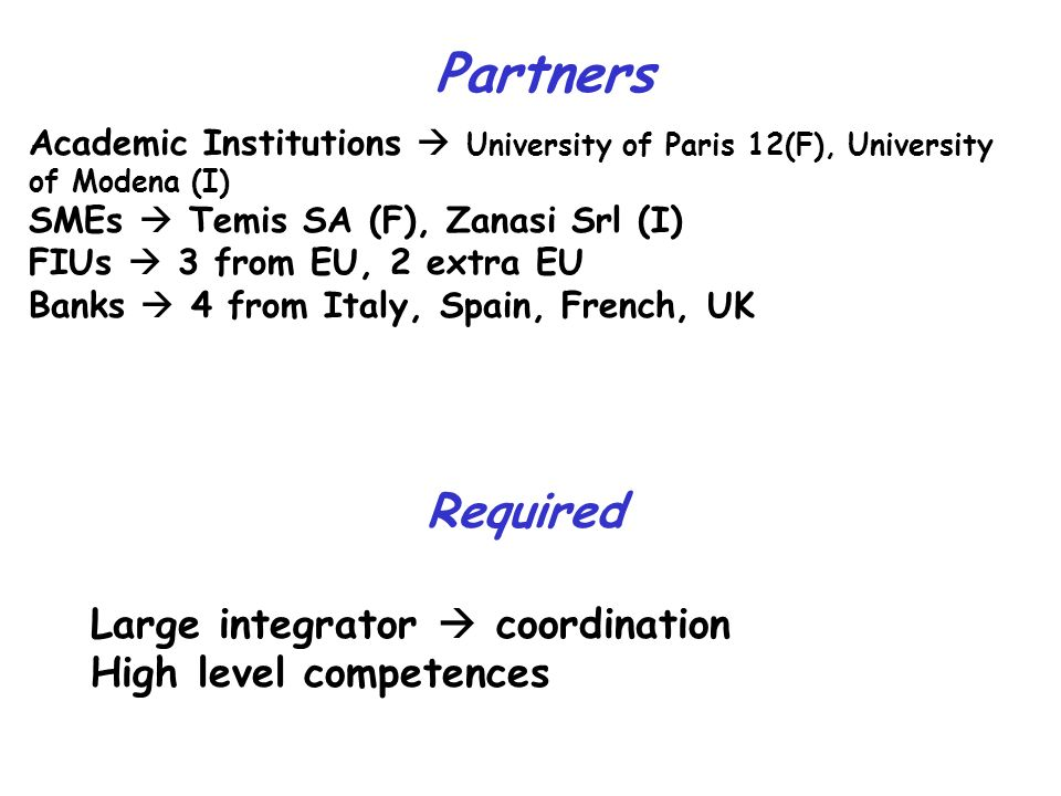 Partners Academic Institutions University of Paris 12(F), University of Modena (I) SMEs Temis SA (F), Zanasi Srl (I) FIUs 3 from EU, 2 extra EU Banks 4 from Italy, Spain, French, UK Required Large integrator coordination High level competences