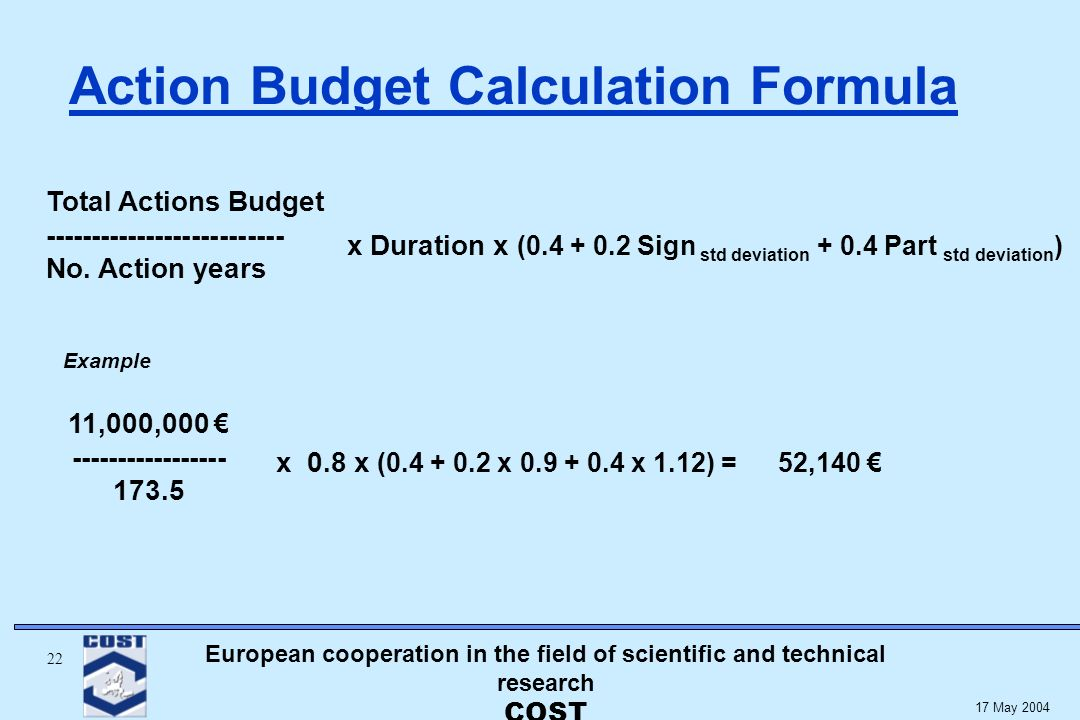 European cooperation in the field of scientific and technical research COST May 2004 Action Budget Calculation Formula Total Actions Budget No.