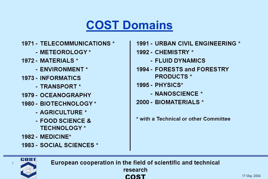 European cooperation in the field of scientific and technical research COST 7 17 May 2004 COST Domains 1971-TELECOMMUNICATIONS * -METEOROLOGY * 1972-MATERIALS * -ENVIRONMENT * 1973-INFORMATICS -TRANSPORT * 1979-OCEANOGRAPHY 1980-BIOTECHNOLOGY * -AGRICULTURE * -FOOD SCIENCE & TECHNOLOGY * 1982-MEDICINE* 1983-SOCIAL SCIENCES * 1991-URBAN CIVIL ENGINEERING * 1992-CHEMISTRY * -FLUID DYNAMICS 1994-FORESTS and FORESTRY PRODUCTS * 1995-PHYSICS* -NANOSCIENCE * 2000-BIOMATERIALS * * with a Technical or other Committee