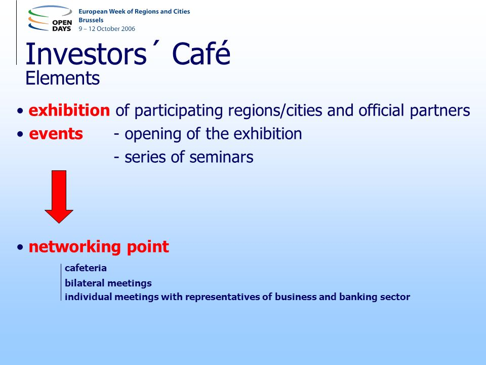 Investors´ Café exhibition of participating regions/cities and official partners events - opening of the exhibition - series of seminars networking point cafeteria bilateral meetings individual meetings with representatives of business and banking sector Elements