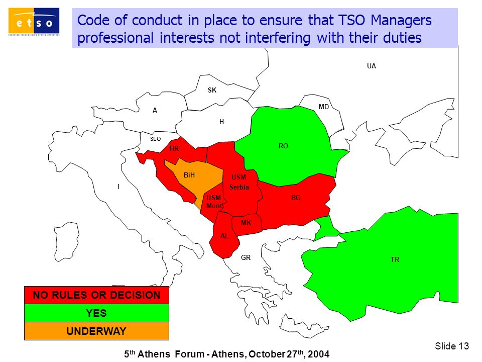 5 th Athens Forum - Athens, October 27 th, 2004 Slide 13 Code of conduct in place to ensure that TSO Managers professional interests not interfering with their duties GR SK UA RO TR AL A I HR MD H MK SLO BiH BG USM Serbia USM Mont.