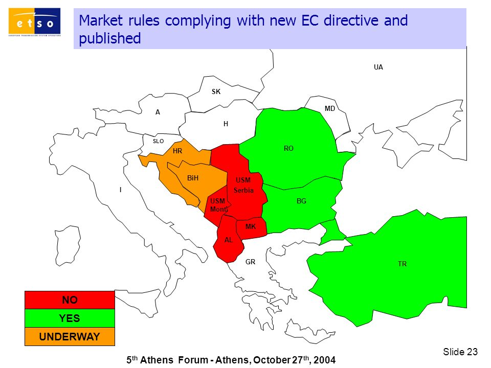 5 th Athens Forum - Athens, October 27 th, 2004 Slide 23 Market rules complying with new EC directive and published GR SK UA RO TR AL A I HR MD H MK SLO BiH BG USM Serbia USM Mont.