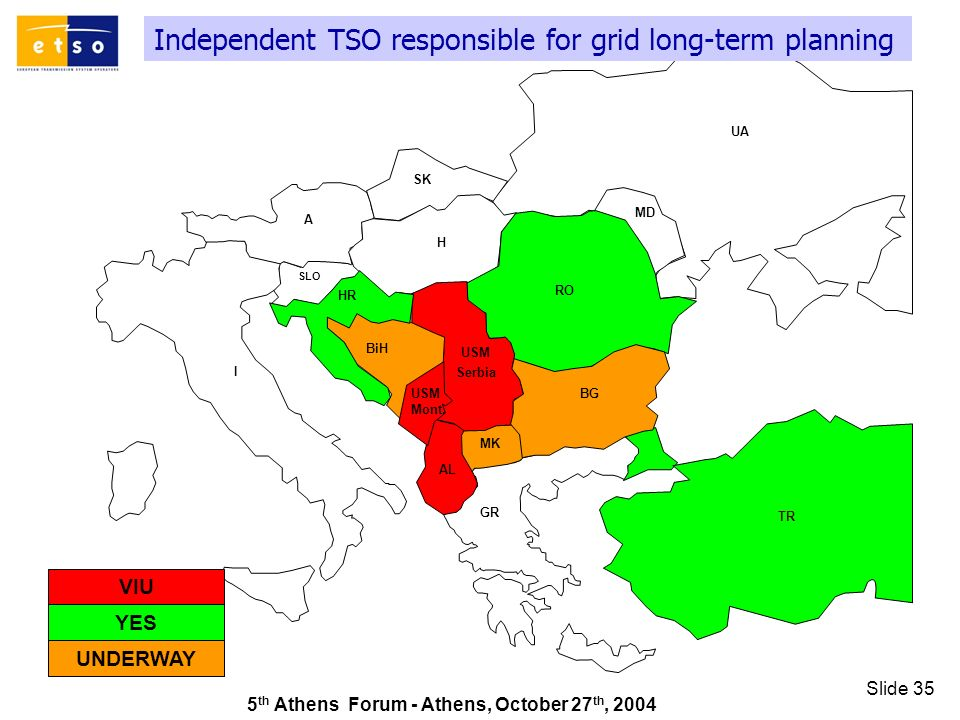 5 th Athens Forum - Athens, October 27 th, 2004 Slide 35 Independent TSO responsible for grid long-term planning GR SK UA RO TR AL A I HR MD H MK SLO BiH BG USM Serbia USM Mont.