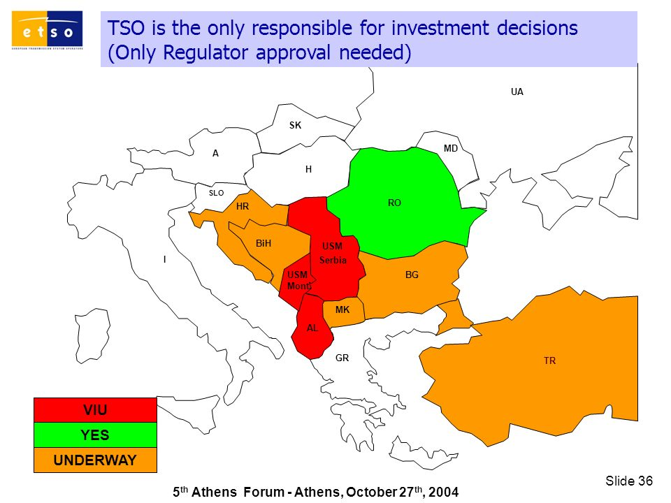5 th Athens Forum - Athens, October 27 th, 2004 Slide 36 TSO is the only responsible for investment decisions (Only Regulator approval needed) GR SK UA RO TR AL A I HR MD H MK SLO BiH BG USM Serbia USM Mont.