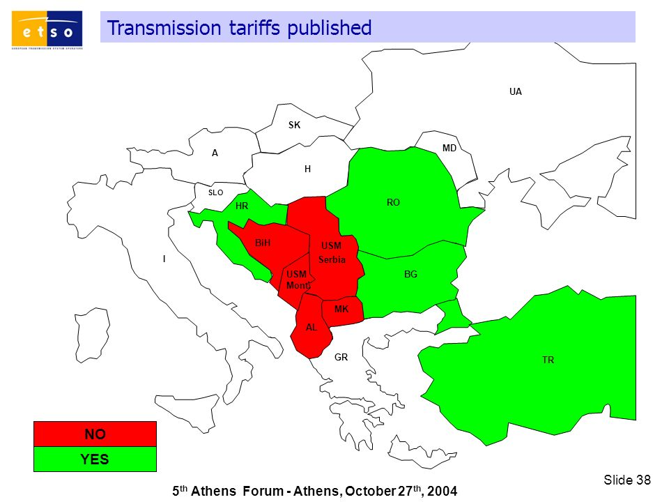 5 th Athens Forum - Athens, October 27 th, 2004 Slide 38 Transmission tariffs published GR SK UA RO TR AL A I HR MD H MK SLO BiH BG USM Serbia USM Mont.