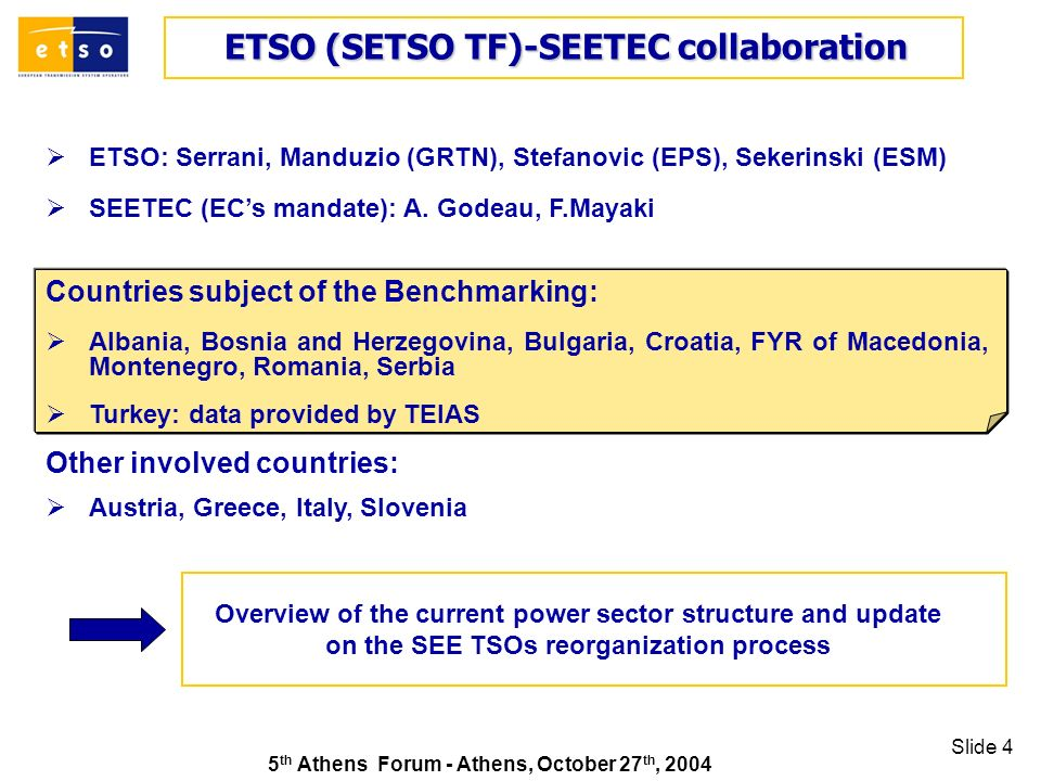 5 th Athens Forum - Athens, October 27 th, 2004 Slide 4 ETSO (SETSO TF)-SEETEC collaboration ETSO (SETSO TF)-SEETEC collaboration Countries subject of the Benchmarking: Albania, Bosnia and Herzegovina, Bulgaria, Croatia, FYR of Macedonia, Montenegro, Romania, Serbia Turkey: data provided by TEIAS Other involved countries: Austria, Greece, Italy, Slovenia ETSO: Serrani, Manduzio (GRTN), Stefanovic (EPS), Sekerinski (ESM) SEETEC (ECs mandate): A.