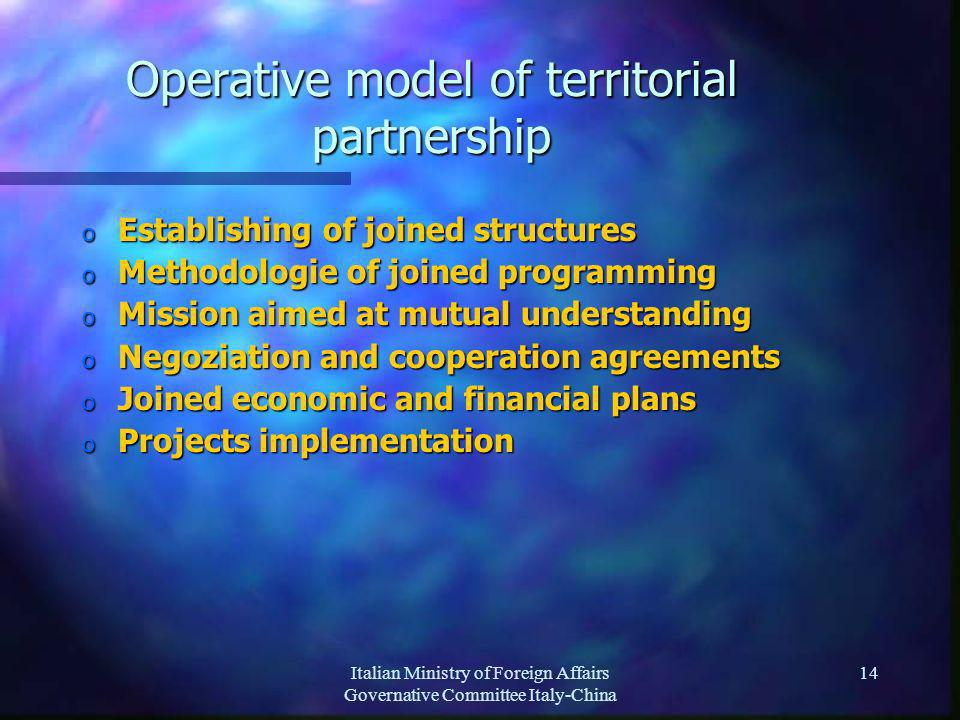 Italian Ministry of Foreign Affairs Governative Committee Italy-China 14 Operative model of territorial partnership o Establishing of joined structures o Methodologie of joined programming o Mission aimed at mutual understanding o Negoziation and cooperation agreements o Joined economic and financial plans o Projects implementation
