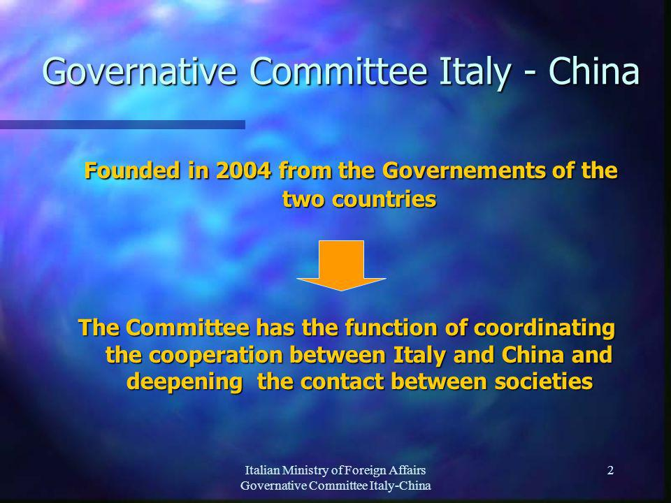 Italian Ministry of Foreign Affairs Governative Committee Italy-China 2 Governative Committee Italy - China Founded in 2004 from the Governements of the two countries Founded in 2004 from the Governements of the two countries The Committee has the function of coordinating the cooperation between Italy and China and deepening the contact between societies