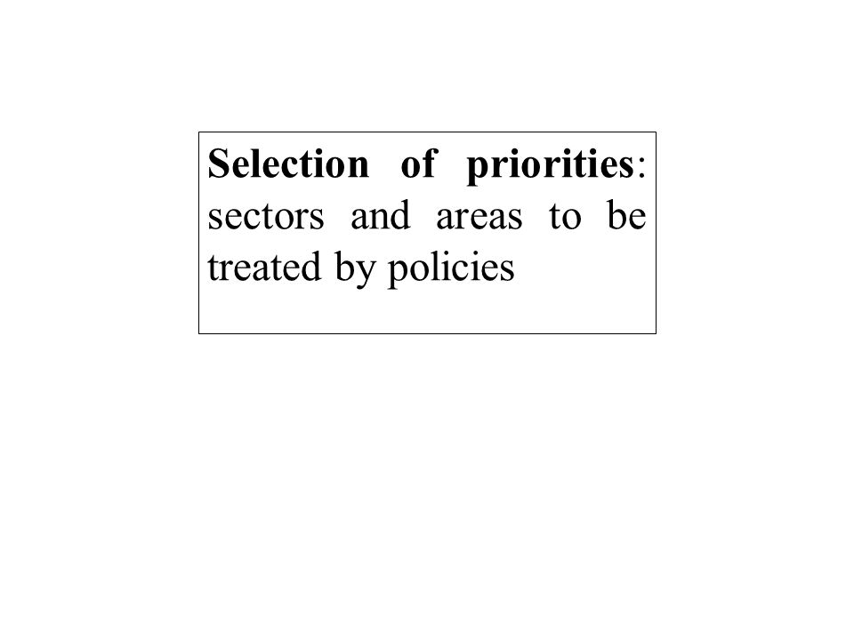 Selection of priorities: sectors and areas to be treated by policies